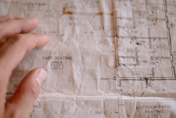 A close up photo of the blueprints of the cafe seating area at The Fort Collective.